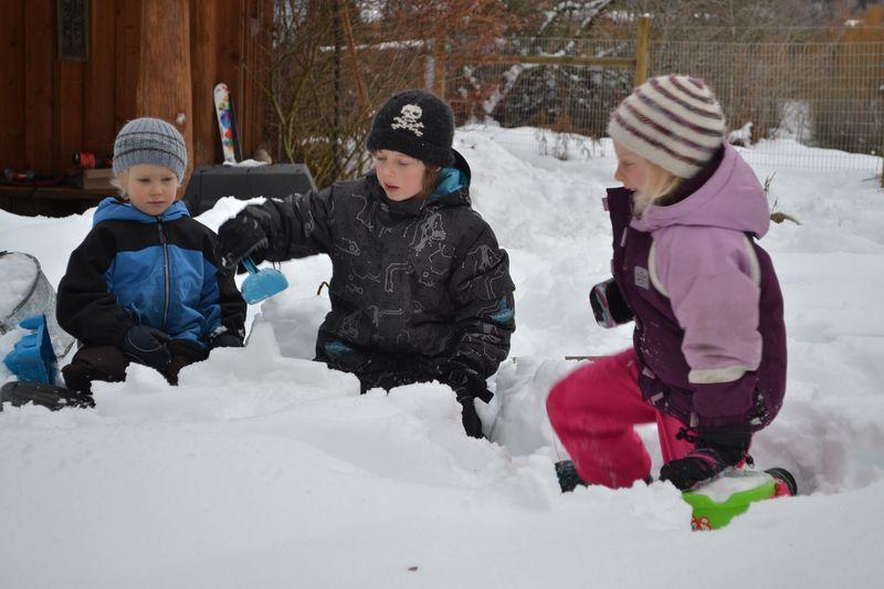January 2015 - making snow castles