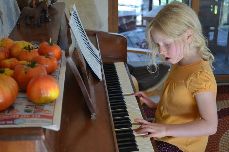 October 2015 - piano practice with tomatoes
