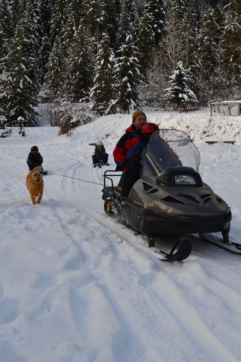January 2016 - sledding with Chris and Simon