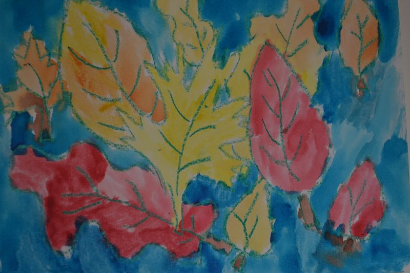 October 2015 - autumn leaves by River, 5 yrs old